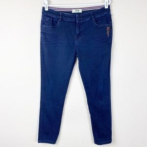IO Classic Fashion blue stretch tapered leg pants